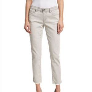 Eileen Fisher Raw Edge Crop Ankle Jeans Size 12
